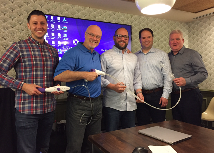 DDW17 - getting ready - Joe Erfort, Peter O'Connell, Travis Luther, Sean O'Hara, Scott Connolly receiving sales training at Lumendi LLC headquarters.