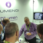 Full attention given to Lumendi staff explaining DiLumen platform of products at UEG Barcelona